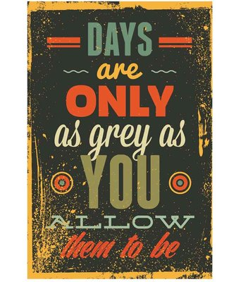 Ophangbord metaal met tekst ; Days are only...