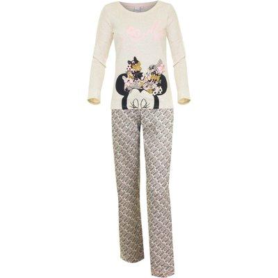 Disney pyjama Minnie Mouse voor volwassenen creme/grijs