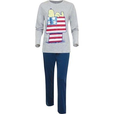 Snoopy dames-pyjama blauw/grijs maat M
