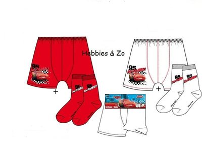 Cars rood setje boxershort / sokken 6-8 jaar