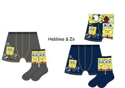 Spongebob setje blauw boxershort / sokken 4-5 jaar