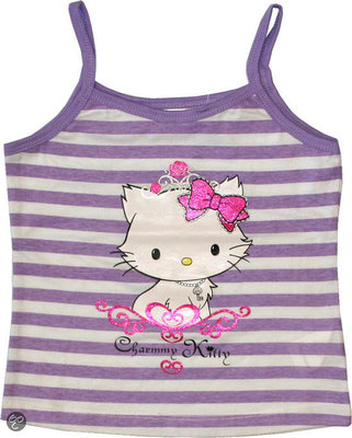 Hello Kitty spaghetti shirt / meisjes topje lila maat 138