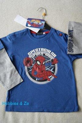 Spiderman longsleeve blauw maat 110