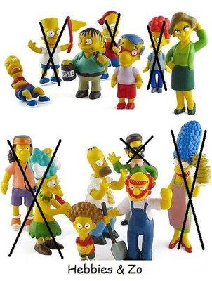 Setje van 7 verschillende Simpsons