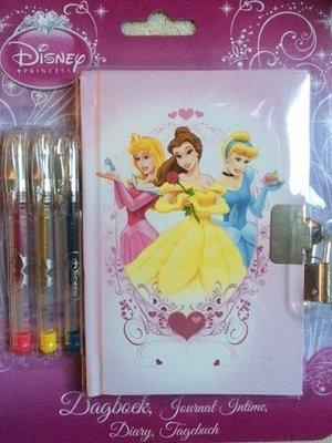 Disney Princess dagboekje met 3 gelpennen