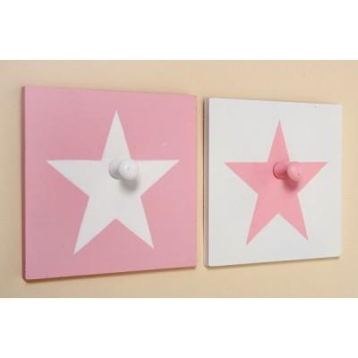 Kinder kapstokje wit met roze ster