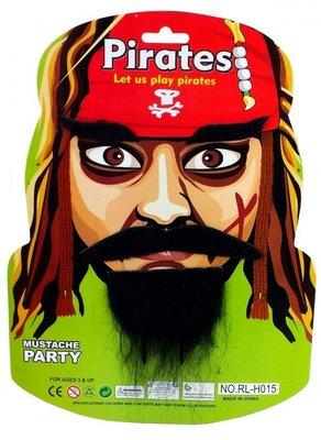 Piraten snor, baard en wenkbrauwen
