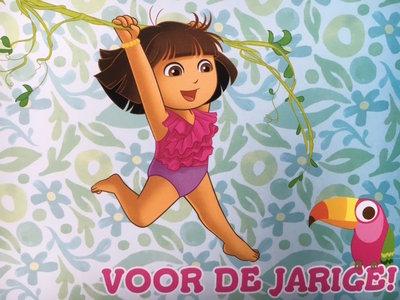 Dora ansichtkaart met opdruk ; voor de jarige !