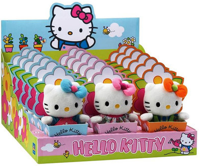 Hello Kitty in bloemenbakje, pluche, 13 cm