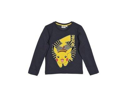 Pokemon longsleeve shirt donkergrijs, maat 104