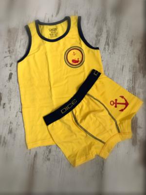 DICE Jongensondergoed, geel met orka opdruk