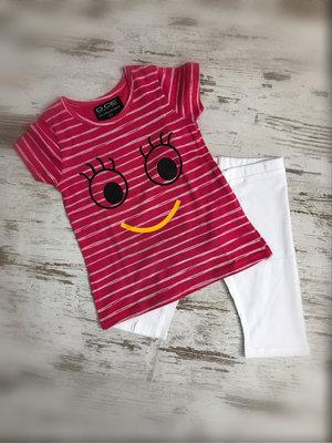 DICE Kinderpyjama / zomersetje Smile fuchsia/wit
