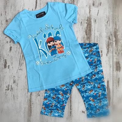 DICE Kinderpyjama / zomersetje model school blauw
