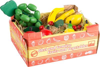 Fruitkistje met houten fruit