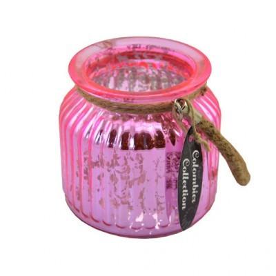 Waxinelichthouder, roze, glas 11 cm
