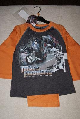 Transformers pyjama oranje, maat 104