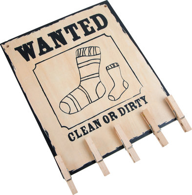 Houten decoratiebord ; Wanted ; `missing socks