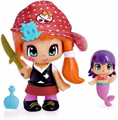 Pinypon piraat poppetje / figuurtje rood met zeemeermin en acc.
