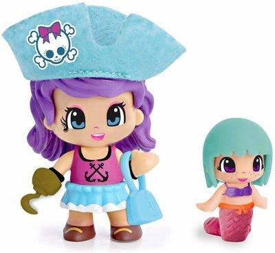 Pinypon piraat poppetje / figuurtje blauw met zeemeermin en accessoires
