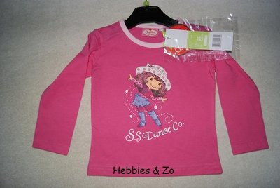 Longsleeve Strawberry shortcake donkerroze mt 102