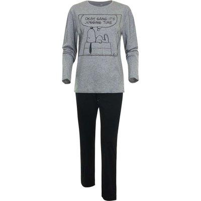 Snoopy dames-pyjama volwassenen grijs/zwart