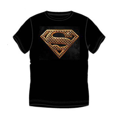 Superman heren t-shirt, zwart, bronskleurige opdruk