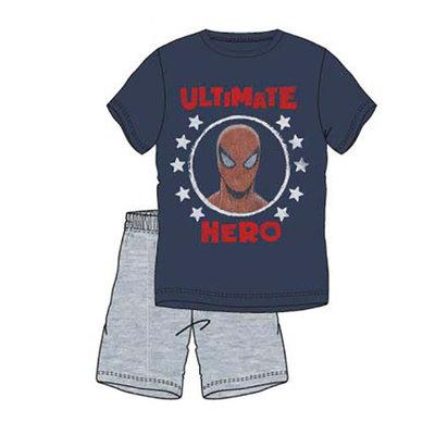 Spiderman heren shortama, navy-oranje-grijs, volwassenen, div. maten