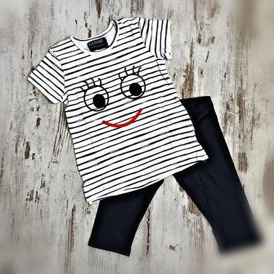 DICE Kinderpyjama / zomersetje Smile blauw/wit, maat 104-110